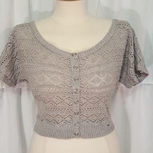 Hollister Grey Crochet Crop Top